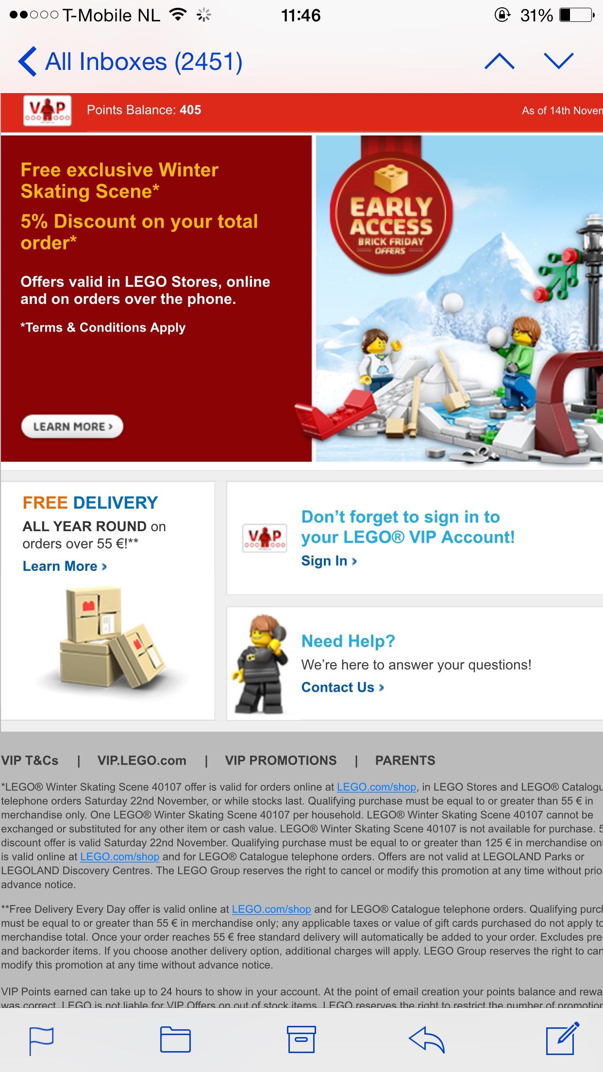 Lego vip exclusief set gratis vanaf 55 euro