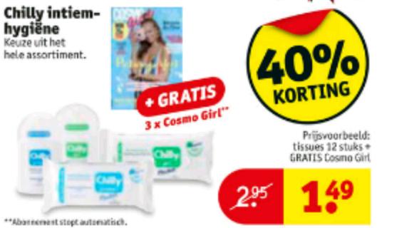 gratis 3x cosmogirl abonnement bij aankoop van chilly (vanaf €1,49) @kruidvat