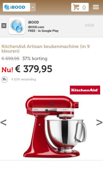 KitchenAid Artisan €389 @iBOOD