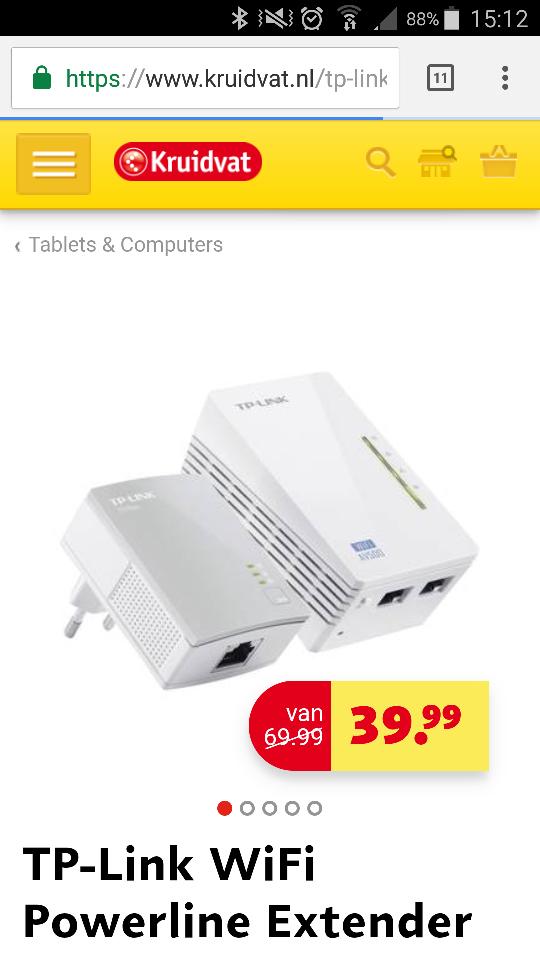 Powerline Extender TP-Link TL-WPA4220KIT voor €39,99 @ Kruidvat