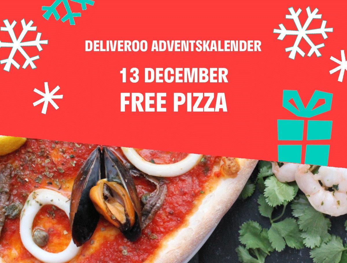 Vandaag 2e Pizza gratis (adventskalender) @ Deliveroo