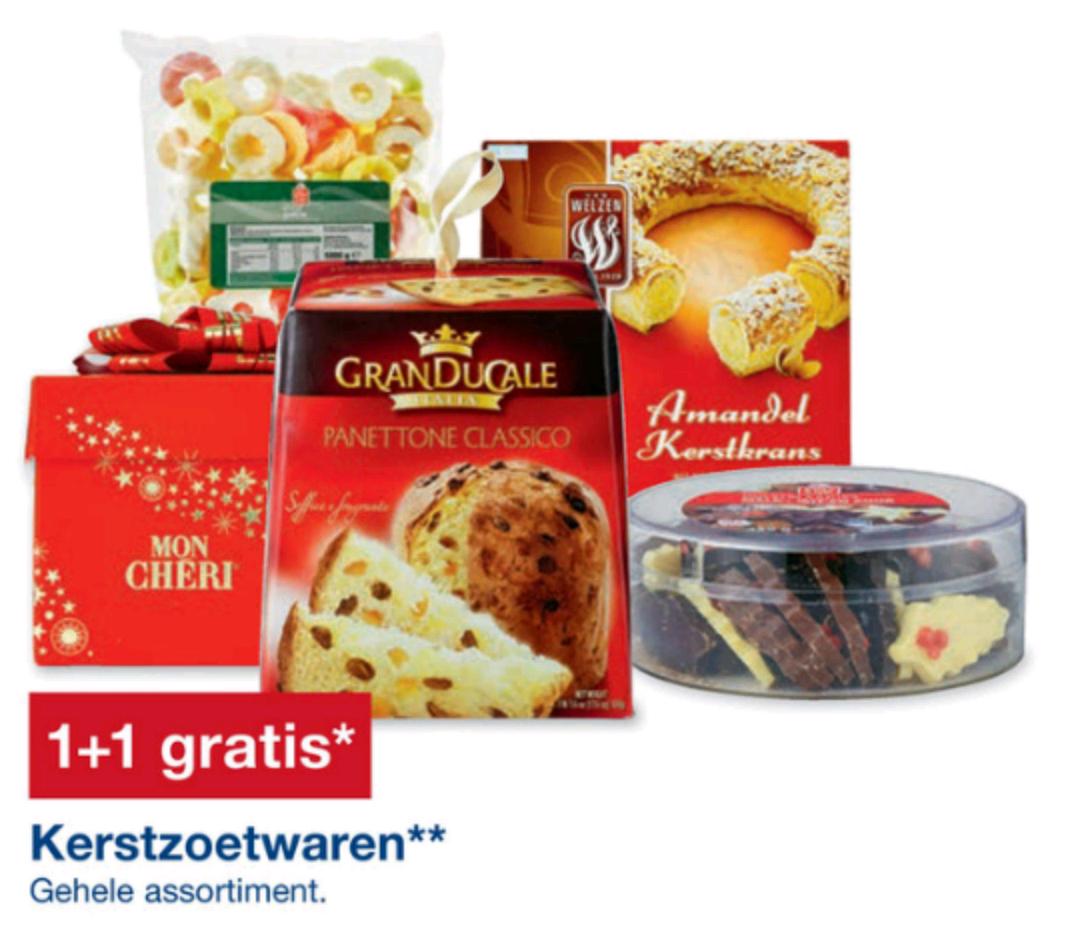Al het zoete kerst eten 1+1 gratis op zondag 18 December