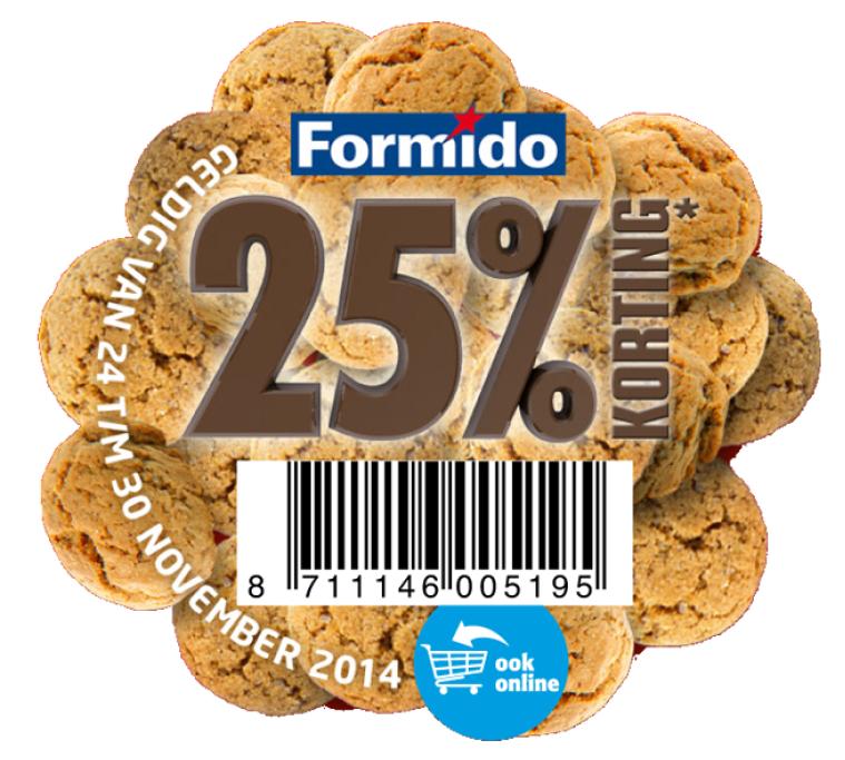 25% korting op een artikel naar keuze door kortingscode @ Formido