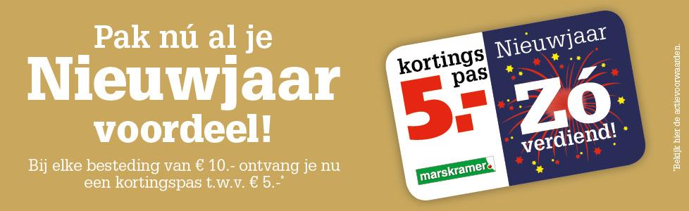 Marskramer: Besteding 10 euro = 5euro kortingspas
