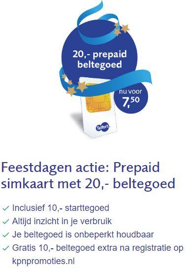 Gratis Telfort prepaid kaart met 20 euro beltegoed (d.m.v. cashback)