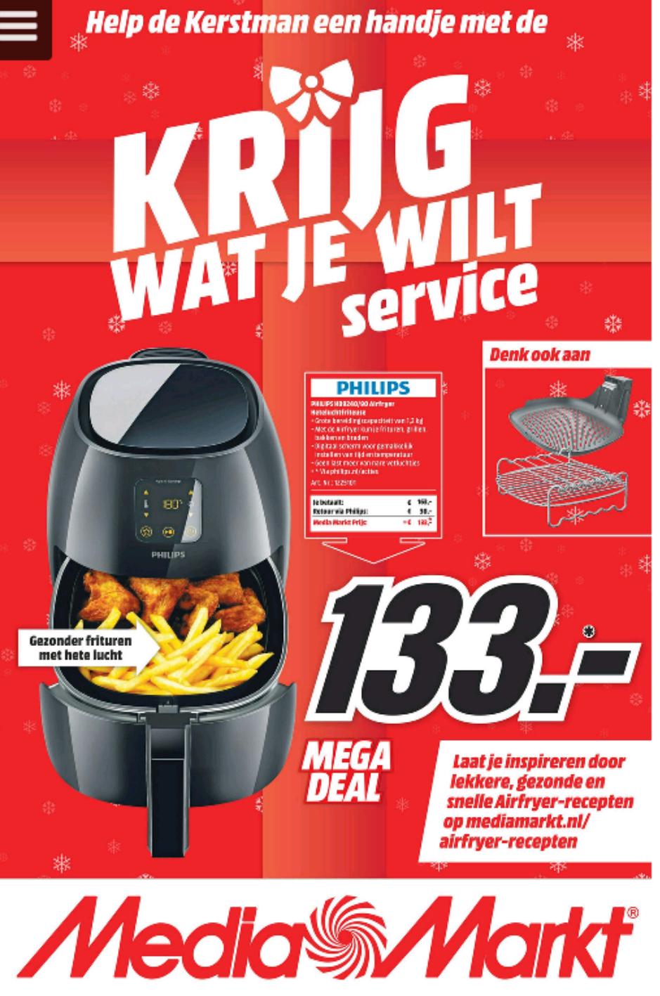Philips airfryer 9240/90 voor €133 @ Mediamarkt
