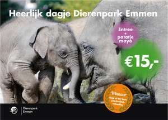 Dagje Dierenpark Emmen + Patatje Mayo voor €15 p.p. @ PostNL