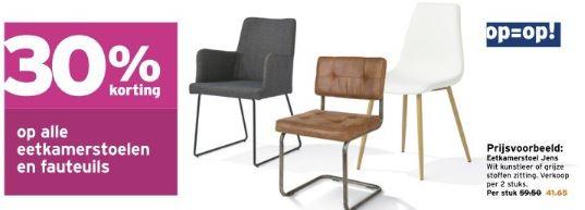 Eetkamerstoelen + fauteuils 30% korting @ Gamma