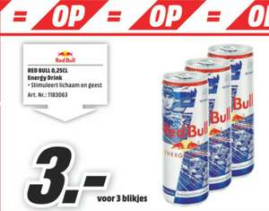 Red Bull energy drink €1 per blikje bij Media Markt