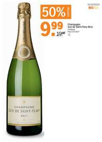 50% korting op Champagne Guy de Saint-Flavy Brut @ Albert Heijn