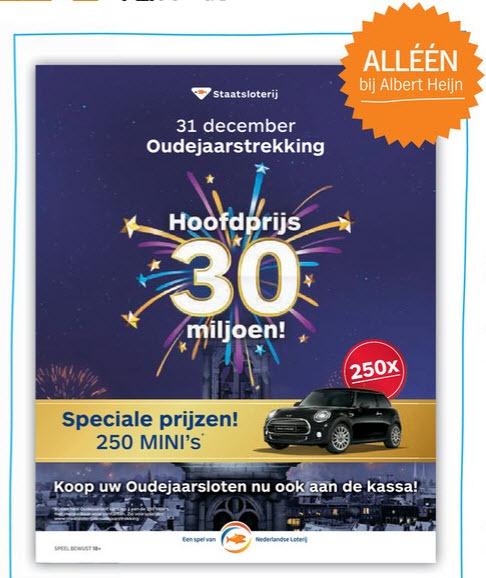 Staatsloterij Oudejaarsloten met airmiles korting @ Albert Heijn