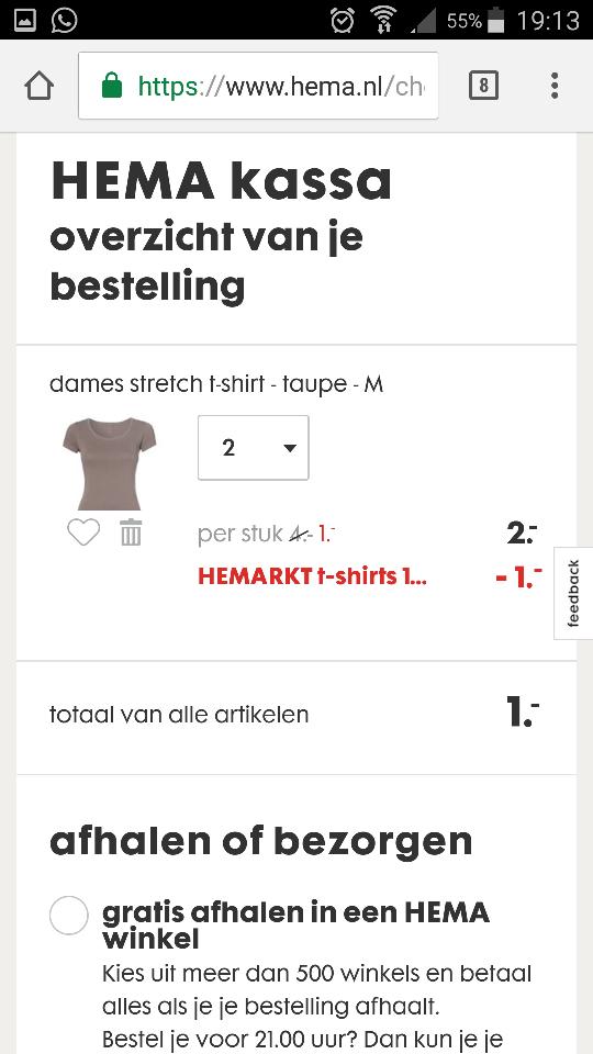 Hema - 2 effen dames t-shirts voor 1 euro
