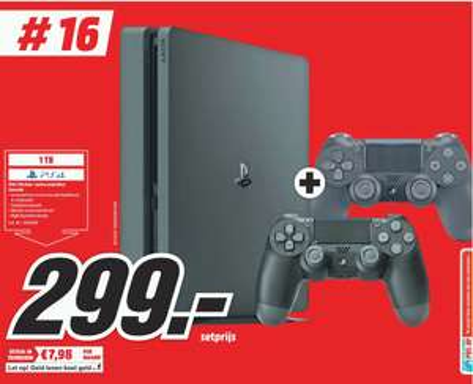 PS4 Slim 1TB + extra controller @Mediamarkt