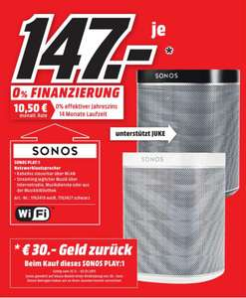Sonos Play:1 -26% (Cashback) @ MediaMarkt Nordhorn