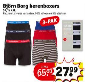 Björn Borg herenboxers 3-pak €27,99 @ Kruidvat (instore)