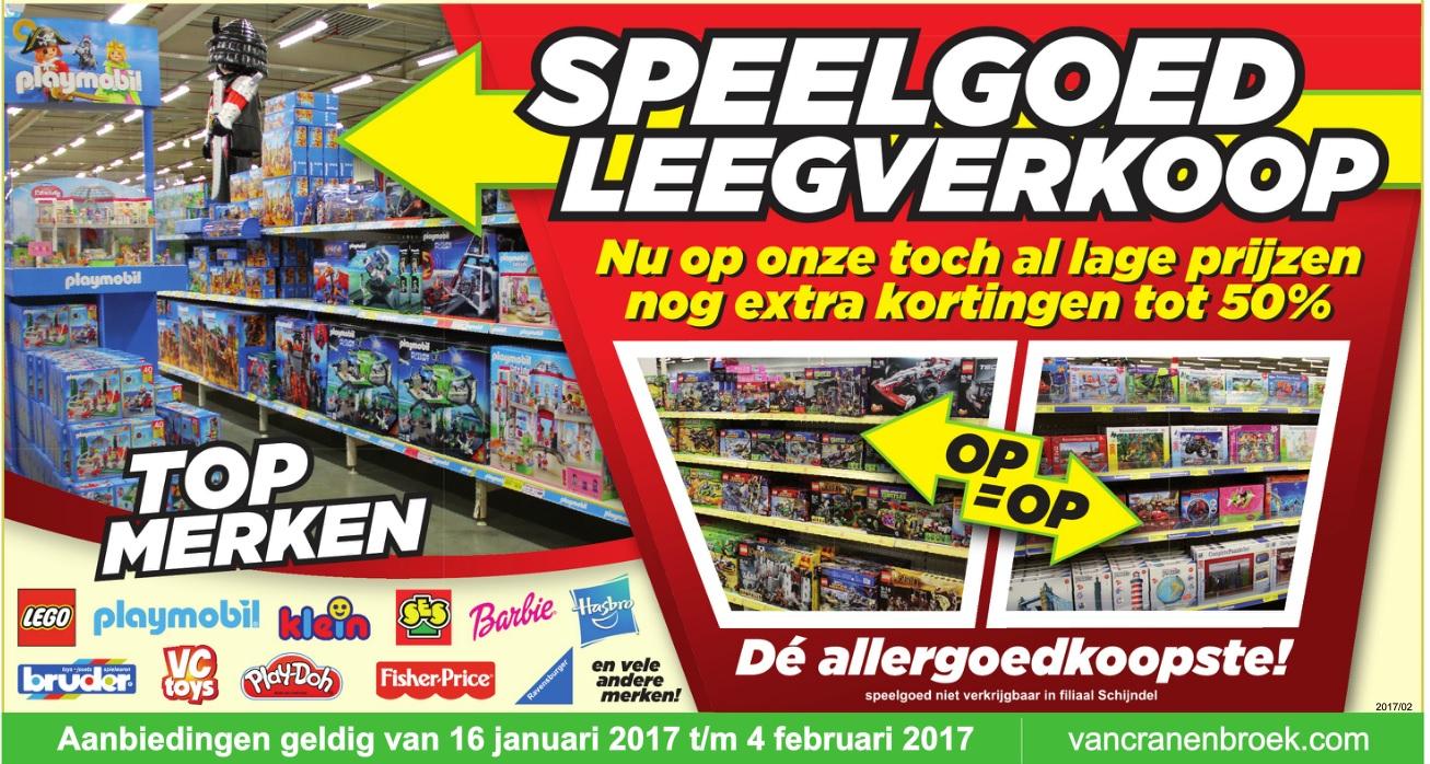 Speelgoed Leegverkoop extra korting tot 50% @ Van Cranenbroek