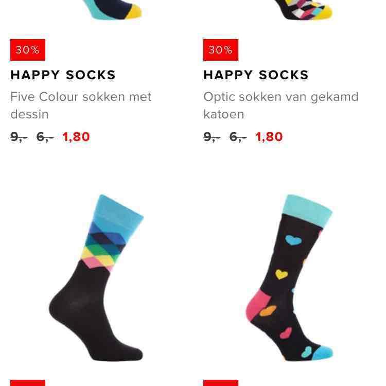 verschillende happy socks vanaf €1,80 bij de bijenkorf