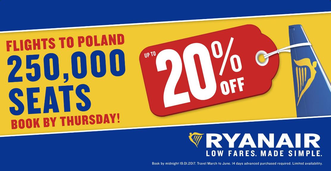 Extra korting op vluchten naar Polen @ RyanAir