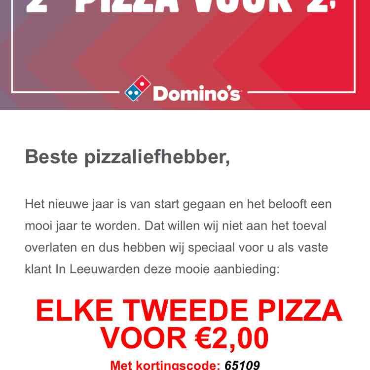 Elke 2e pizza voor 2 euro (Domino's Leeuwarden)