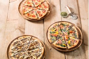 Korting op verschillende pizza's of kip