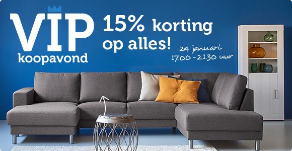 24-1: VIP avond @ Woonexpress 15% korting op alles*