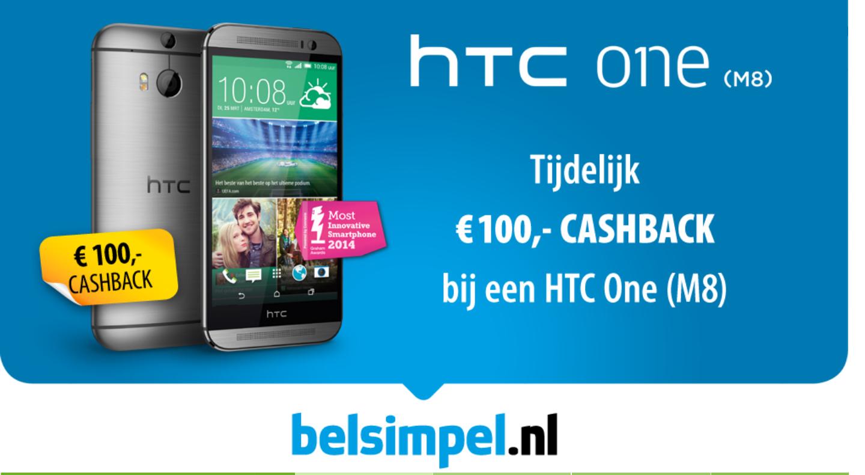 [Update] HTC One M8 16GB  vanaf €368,95 na cashback @ Belsimpel