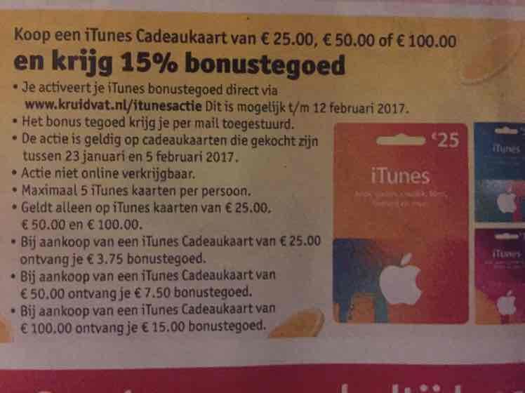 15% extra iTunes tegoed @Kruidvat