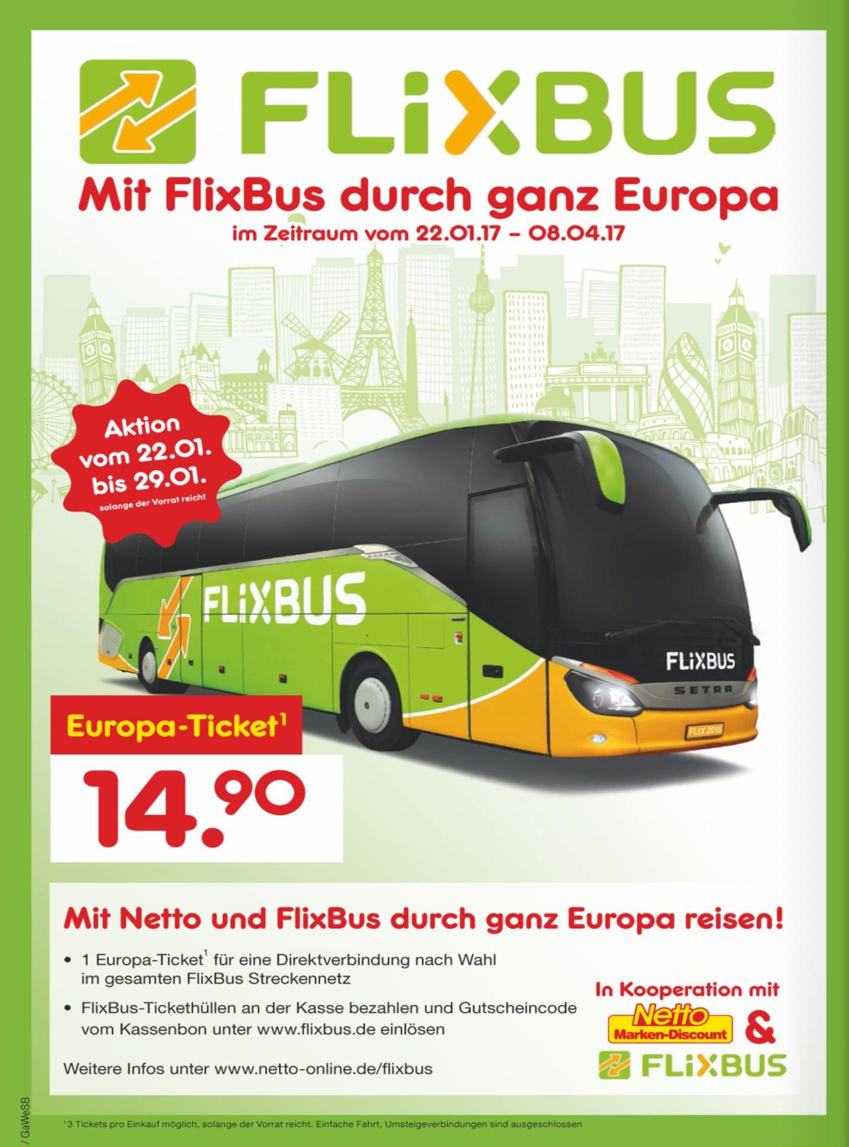 FlixBus Europa-Tickets voor 14,90 EUR @ Netto (DE) [GRENSDEAL]