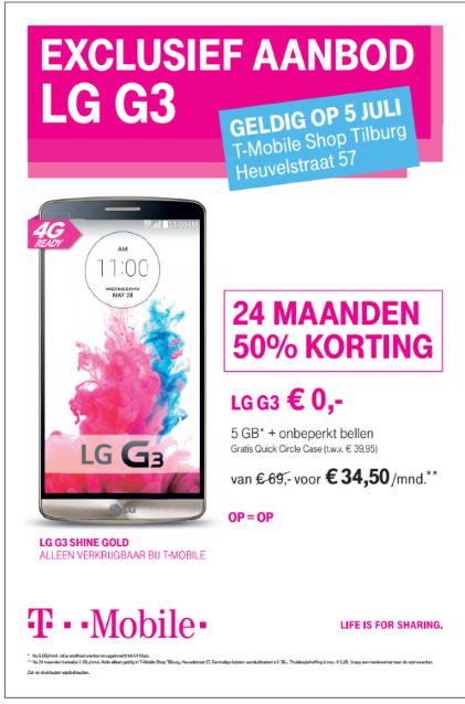 LG G3 (Goud) incl. 5GB en onbeperkt bellen voor € 34,50 p.m. @ T-Mobile Shop
