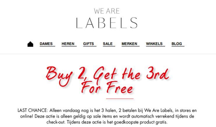 SALE: 3 halen 2 betalen @ We Are Labels