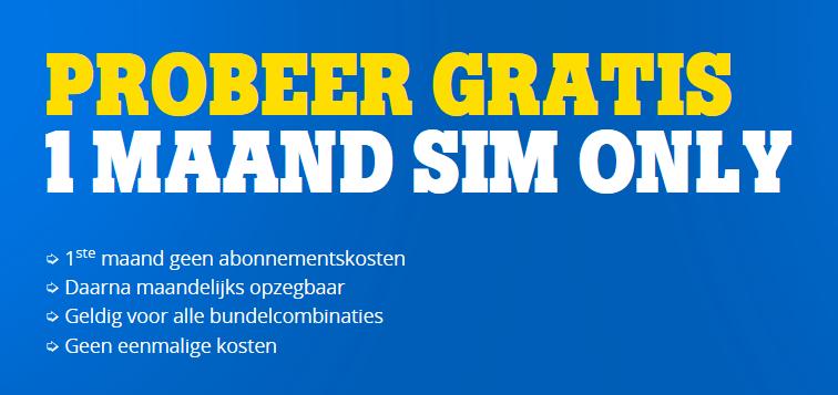 Probeer Gratis 1 Maand Sim Only T.w.v. €38,- @ Tele2