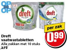 Dreft Platinum vaatwastabletten voor €0,99 per 10 @ Hoogvliet (Vanaf woensdag 15/2)
