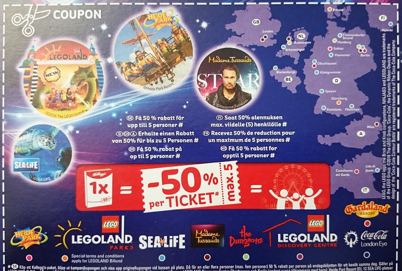 (Grensdeal) 50% KORTING via Kellogs op heel veel Europese pretparken (Legoland, Heidepark, Madam Tussaud, London Eye etc etc)