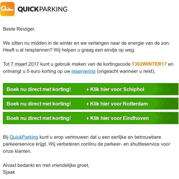 5 Euro korting parkeren Schiphol op Quickparking.