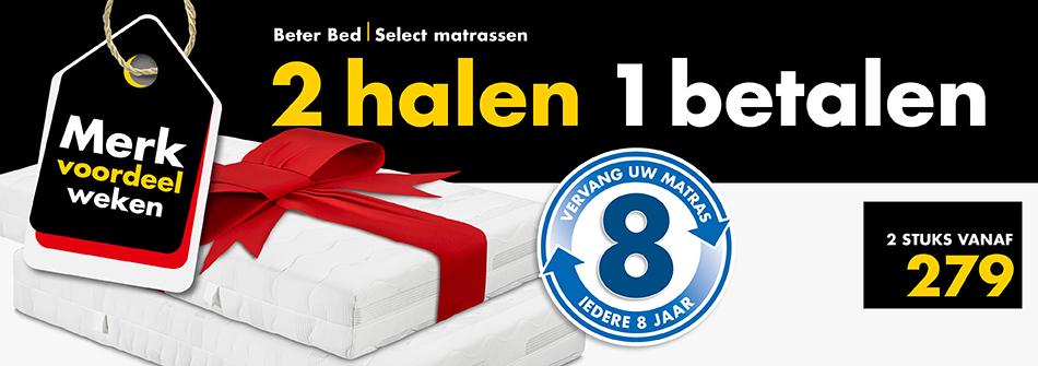 50% korting op veel matrassen, bedbodems en kussens  @beterbed.nl