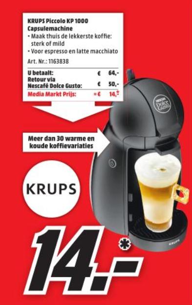 Vanaf morgen de Krups Dolce Gusto Piccolo PK1000 voor €14,- (na cashback) @ Media Markt