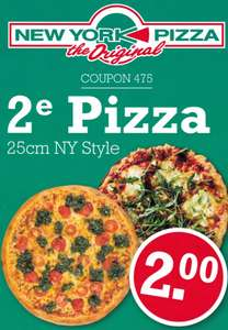 2e pizza (25cm NY Style) voor  € 2,-- @ New York Pizza