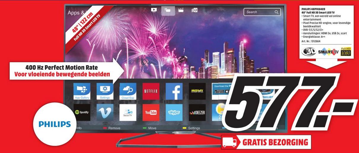 Vanaf morgen de Philips 48PFK6409 FULL HD 3D Smart TV voor €577,- @ Media Markt