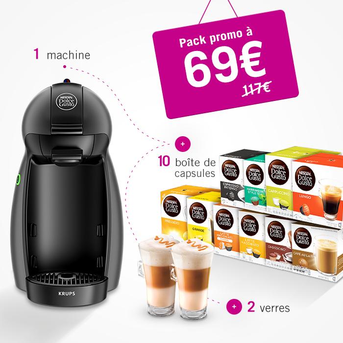 Promopack Dolce Gusto - 10 dozen capsules + 2 glazen + Dolce Gusto Piccolo (België)