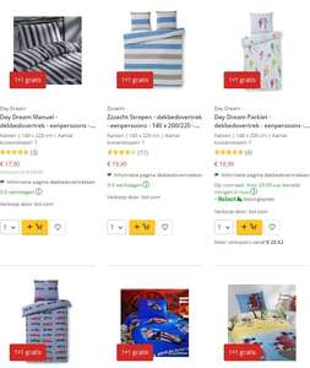 Dekbedovertrekken 1+1 gratis (300+ items) @ Bol.com