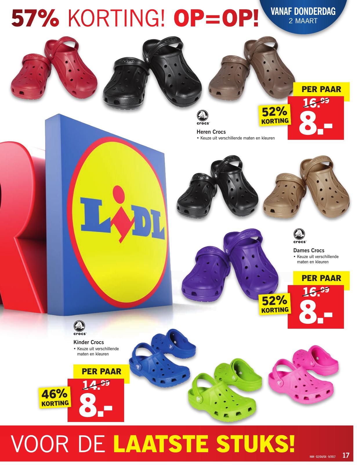 Crocs dames, heren, kinderen @ Lidl 8 euro