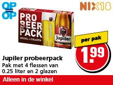 4 flesjes Jupiler + 2 Jupiler glazen voor nog geen 2 Euro bij Hoogvliet (vanaf 15/3)