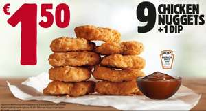 9 kipnuggets voor 1,50  @ Burger king