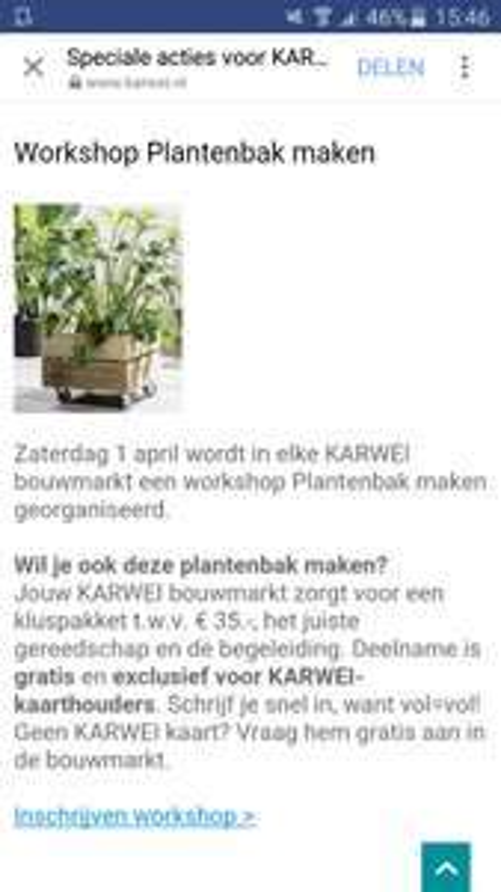 Zaterdag 1 april gratis workshop plantenbak maken @karwei