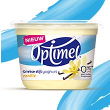 2x Gratis: Optimel Griekse stijl yoghurt vanille èn Griekse stijl drinkyoghurt