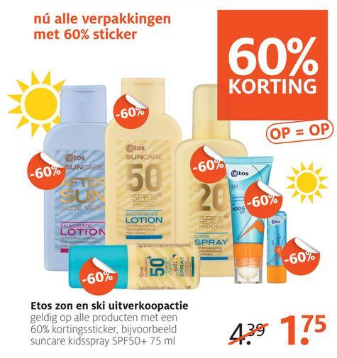 Diverse sun / ski zonnebrand met 60% korting @ Etos