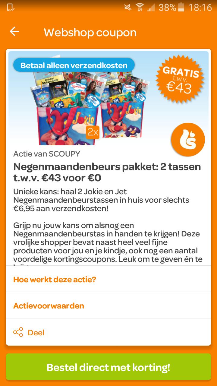 2 jokie & jet negenmaandenbeurs tassen voor €6,95 @scoupy