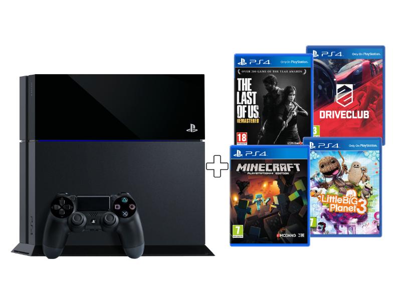 PlayStation 4 Bundel met de games (Driveclub, The Last Of Us Remastered, Little Big Planet 3 en Minecraft) voor €444,- bij Media Markt