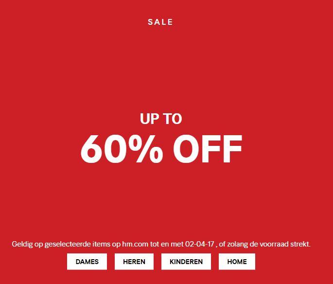 Sale tot -60% + gratis verzending (t/m 26-03) @ H&M