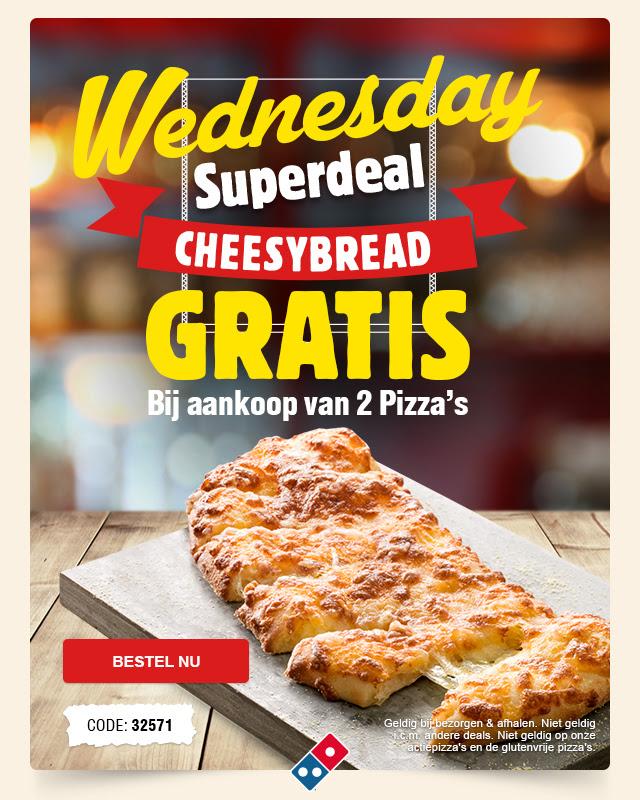 Gratis Cheesy Bread bij aankoop van 2 pizza's @ Domino's